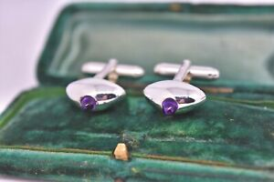 Vintage Sterling Silver cufflinks with an Art deco Amethyst stone #G397