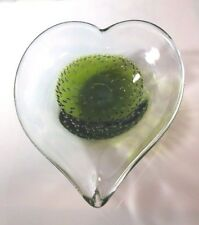 Mid-Century Murano-Style Controlled Bubble Heart Dish/Cigar Ash Tray