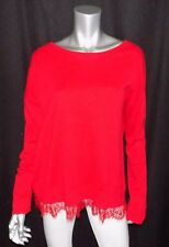 LANE BRYANT NEW Red Scoop Neck Long Sleeve Lace Hem Sweater Plus sz 18/20W