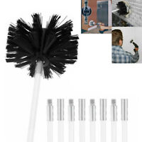 "4"" Round Stiff Spring Wire Fireplace Chimney Sweep Cleaning Brush 4 Rods Black"