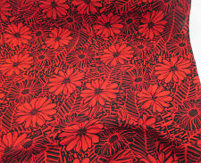 Red & Black, Abstract Retro Floral 100% Viscose Summer Printed Dress Fabric.