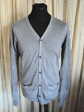 AllSaints -'Anton'- Grey Cotton Fine Knitted Button Front Cardigan ~ size S- 38""