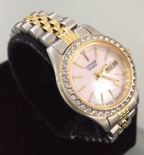 Ladies Genuine Citizen Dress Watch Jubilee Day Date Crystals Gold Mop Dial
