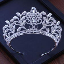 7.5cm High Large Crystal Flower Drip Tiara Crown Wedding Party Prom Pageant