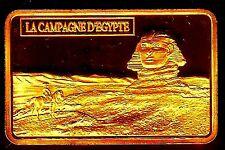 ★★ MAGNIFIQUE LINGOT Plaqué OR ● NAPOLEON ● EN EGYPTE DEVANT LE SPHINX ★★★★