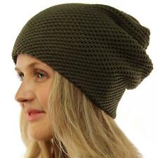 Winter 2ply Waffle Stretch Warm Knit Slouch Long Beanie Skully Ski Hat Cap Olive