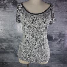 Banana Republic Women's Tops Blouse Shirt Sz M Animal Prints Black %26 White