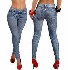 Sexy Womens Denim Pencil Jean Leggings, Slim fit Elastic Waist Leggings.  UK