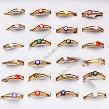 Wholesale 5pcs CZ Zirconia Women's Gold stainless steel wedding Rings FREE