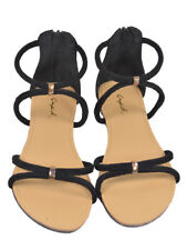 New Women Strappy Black Flat Sandals Suede Size 7