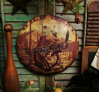 Primitive Antique Vtg Style Horse WILD WEST RODEO Cowboy Dome Metal SIGN RETIRED
