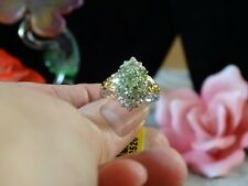 Merelani Mint Garnet, Zircon Ring 14K YG & Platinum Over 925 SS Size 6