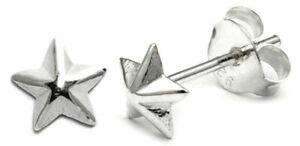 TINY CUTE STAR EARRINGS STERLING SILVER 925 STUD  5mm Width  Pair or Single