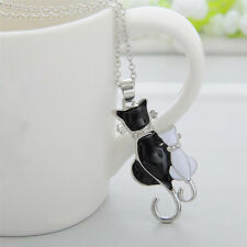 Newly Fashion Women Silver Plated Black Cat Chain Pendant Necklace Charm Jewelry