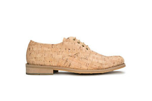 Vegan derby round toe shoe lace-up organic cork breathable lined casual wedding