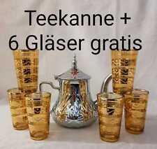 TEEKANNE MARRAKESCH STYLE MINZTEE PFEFFERMINZ TEE KANNE + 6 GLÄSER GOLD GELB