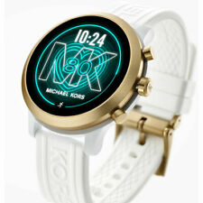NEW MICHAEL KORS ACCESS MKGO Gold Aluminum White Silicone Touchscreen Smartwatch