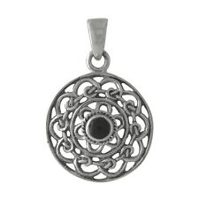Celtic Knot Round Black Onyx 925 Sterling Silver Pendant - Wholesale / Gift