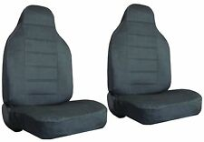 Quilted Encore Velour 2 Charcoal Grey High Back Bucket Car Truck Seat Covers #8