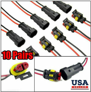 10 Sets 2-Pin Way Car Waterproof Male Female Electrical Wire Connector Plug Kit