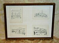 "Vintage 25x19"" Framed Set of 4 Sausalito, CA Street Scene Drawing Prints by Faye"