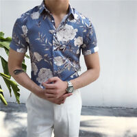 Fashion Men Floral Printing Shirt Leisure Long Sleeve Slim Fit Blouse Shirts New
