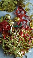 Assorted Christmas Tinsel Tree Decorations Gold Baubles