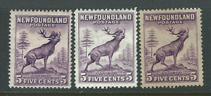 Bigjake: Newfoundland #190, 191, & 257,  5 ct. Caribou - *H