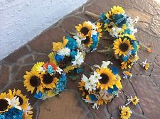 wedding flowers bridal bouquet decorations oasis blue sunflowers or your colors