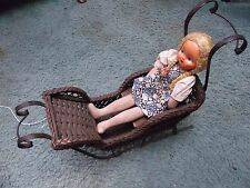 Antique Victorian 27' x 22 Wrought Iron Wicker Doll Carriage Sleigh + cool doll