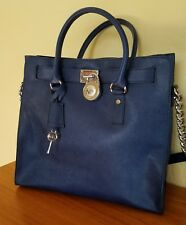 MICHAEL KORS LARGE SAFFIANO LEATHER HAMILTON TOTE BAG PURSE NAVY & SILVER W/KEY