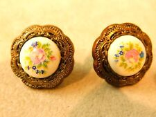 Pink Rose Flower Cameo Style Lightweight Button Pierced Earrings 5j 65