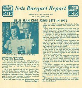 1975 New York Sets World Team Tennis Newsletter - Billie Jean King WTT #FWIL