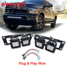 For Dodge Ram 1500/2500/3500 4X 24W LED Fog light Pod+Bumper Mount Bracket+Wire