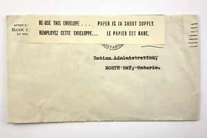 Canada Corner Cachet Wartime Paper Ration North Bay OHMS Ladies-In-Waiting 626B