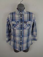 WOMENS SUPERDRY BLUE/WHITE/RED CHECKED BUTTON UP LONG SLEEVED SHIRT UK S SMALL