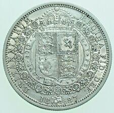 More details for 1887 victoria jubilee head halfcrown, british silver coin gvf/aef