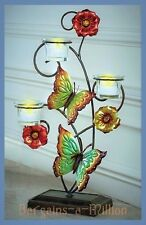 "Metal Butterfly Flowers Tealight Candle Holder Tabletop Stand 18""H"