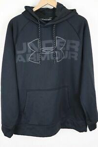 Under Armour Men's sz Large Black Fleece Lined Big Logo Spell Out Hoodie