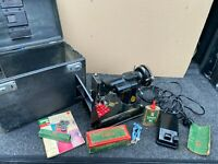 Vintage 1950 Singer Portable Sewing Machine Model 221 With Case + Attachments
