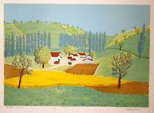 Maurice LOIRAND- Lithographie originale signée-Maisons dans la vallée