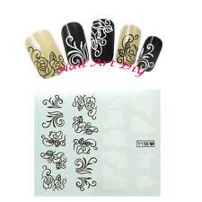 Adesivi per unghie con Fiori Neri/Bianchi-Nail Art water transfer Stickers!!