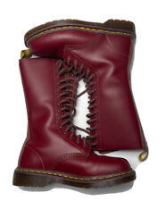RARE Dr. Martens Burgundy Leather Tall Combat Boots Made in England Sz 4