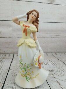 Vintage 1986 Porcelain Figure Cassandra With Daises April Collection RARE Enesco