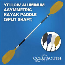 Kayak Paddle Yellow Aluminum Asymmetric (Split Shaft)
