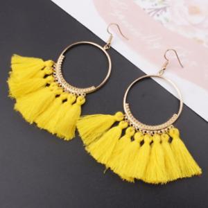 Multi-colors Women Bohemian Earrings Jewelry Long Tassel Fringe Boho Dangle