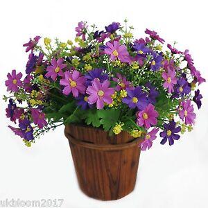 28 heads Artificial Chrysanthemum daisy bush bunch hanging basket vase garden