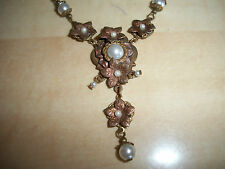 ANTIQUE VICTORIAN BRASS COPPER FAUX PEARL FLORAL TEAR DROP NECKLACE JEWELRY