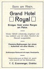 GRAND Hotel Royal Bonn il Reno * F.C. Eisenmenger * storica promozionale 1906