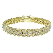 1.00 CTTW Natural Diamond Miracle Set Braided Tennis Bracelet in Gold Tone Brass